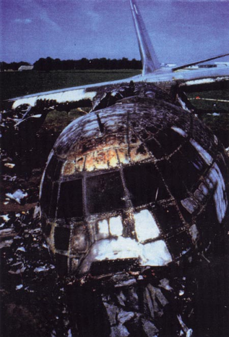 12. Plate 17. Thirty-four people died in the bird-strike related crash of this C-130H at Eindhoven AFB, Holland on July 15, 1996. Photo courtesy Transport Canada.