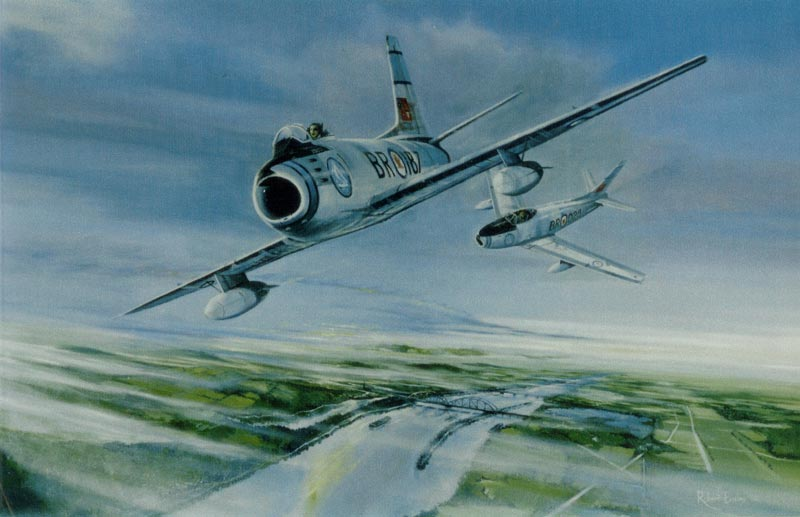 15. F/O Syd Burrows - Blinded at 400 knots September 13, 1954. Painting by Robert Bailey.