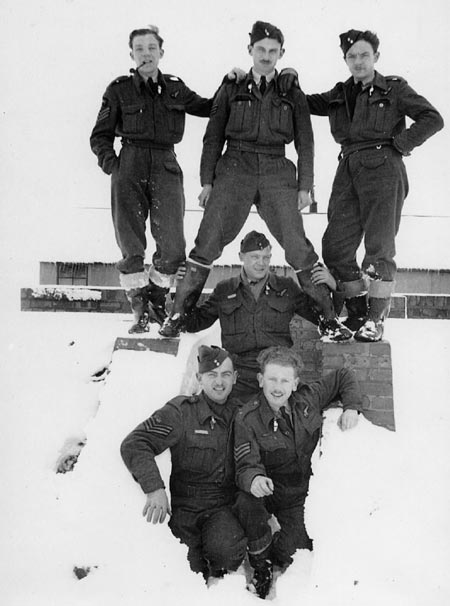 1. Crew of ND-641 - 1944. Standing L-R: Sgt. Percival Simpkin, Sgt. John Lavender, Sgt. Wilfred Broadmore. Middle: Sgt. Harry Nixon. Kneeling: W/O Frank Magee, Sgt. William Clark