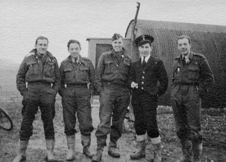 3. Louth, England - 1943 Lots of Mud. L-R: Al Normandin, Bill Broadmore, Jack Owen, Gordon Dark (RCNVR), Percy Simkin