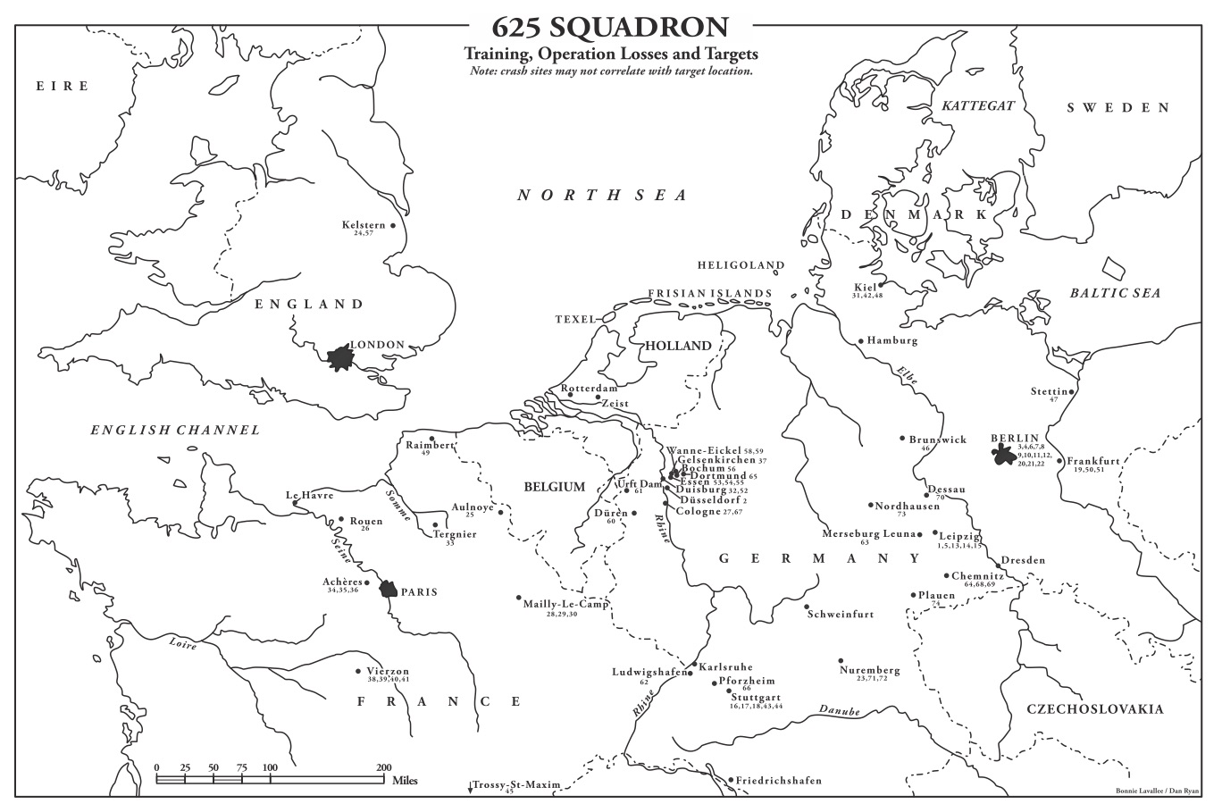 Map of 625 Squadron Training, Operational Losses and Targets
